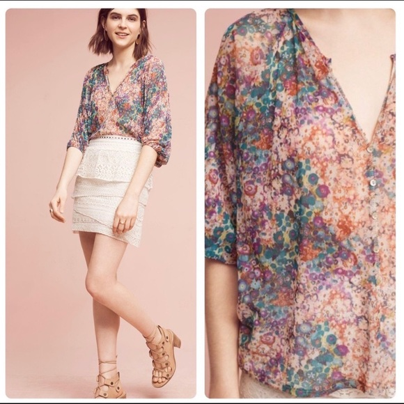 Anthropologie Tops - Anthropologie Weston Josephine Floral Blouse